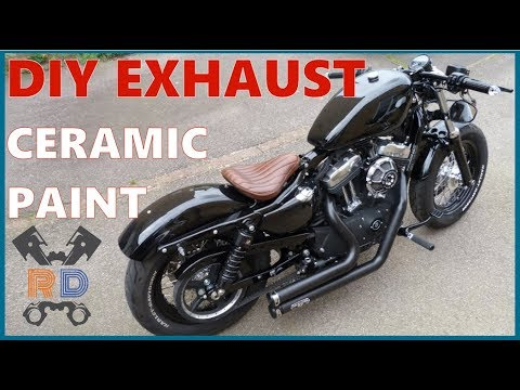 HOW TO: VHT Ceramic Spray Painting Exhaust Pipes   Harley Sportster 48