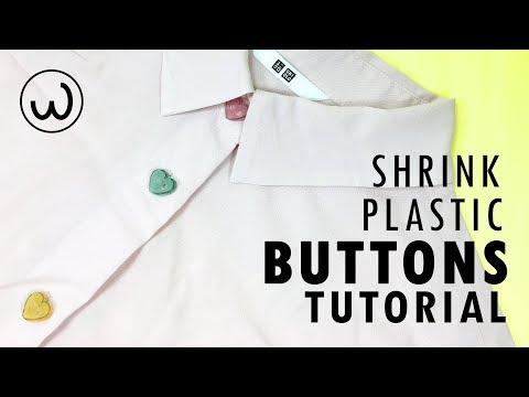 SHRINK PLASTIC BUTTONS MAKING TUTORIAL -- สอนทำกระดุมจากพลาสติกหดได้ -- WANDER HOW TO