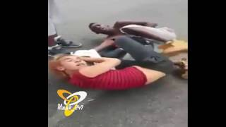 white woman fight with black guy