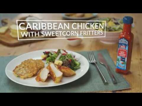 Caribbean chicken with sweetcorn fritters