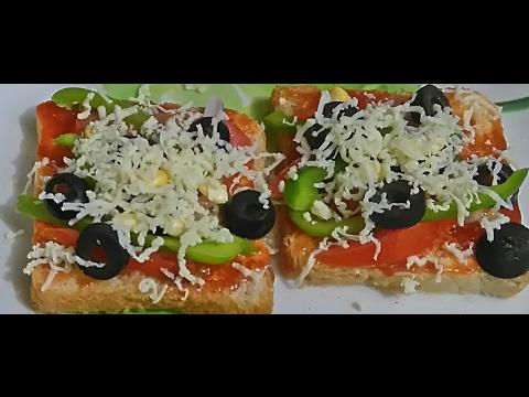 bread pizza   Instant bread Pizza in microwave