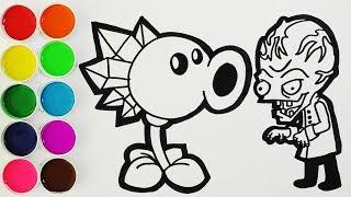 plantas vs zombies 2 como dibujar y colorear lanzaguisantes de