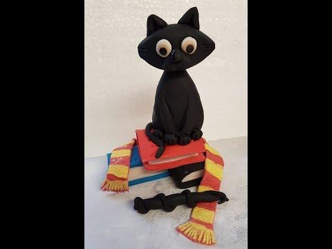 how to make a black cat gumpaste cake topper tutorial