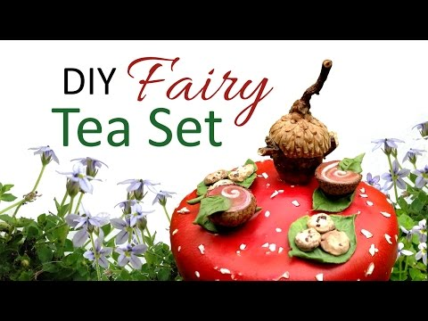 DIY Fairy Garden Miniatures; Make an Acorn Tea Set on a Toadstool Table