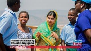 Malala Yousafzai with Burundian refugee girls in Rwanda