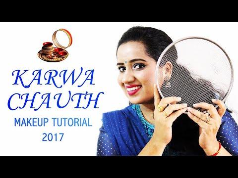 BEST KARWA CHAUTH MAKE UP TUTORIAL 2017   Indian Festival   Happy Pink Studio