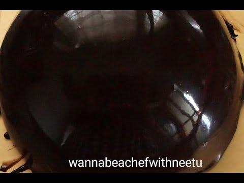 Easy shinny Chocolate Mirror Glaze using Powder Gelatine (How to make mirror glaze)