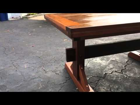 Mahogany triple pedestal table