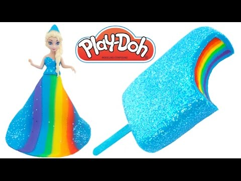 Learn Colors Frozen Elsa Rainbow Play Doh Ice Cream Popsicle & Princess Dress RL