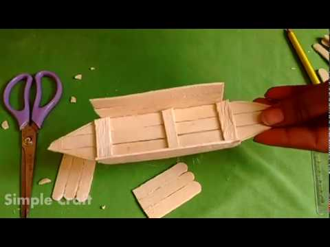 How to make boat with ice cream sticks....(Simple Craft by Sowmya Madhusudhan)