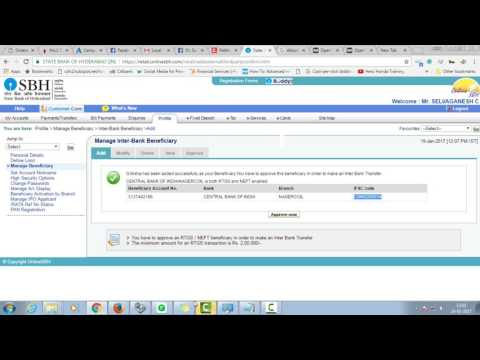 How to Add Payee and Transfer Money from State bank SBH to other Bank Online