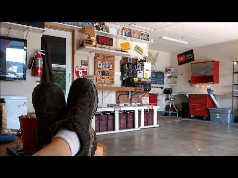 Garage man cave DIY makeover DONE! - new wall cabinet, storage bins, power strip, LED light