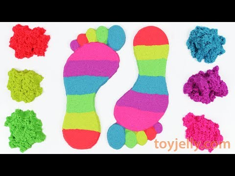 DIY How to Make Kinetic Sand Footprint Learn Colors Baby Doll Bath Time Body Hand Paint Finger Song