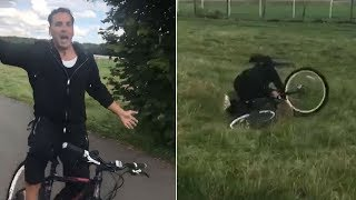 Akshay Kumar falls off his cycle after wishing his fans! Watch Video