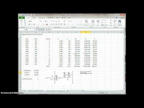 Calculating Covariance & Correlation