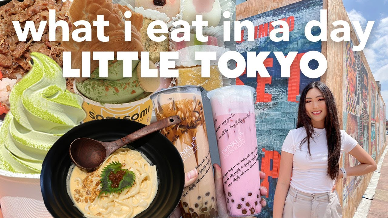 WHAT I ATE IN LITTLE TOKYO | Mother's Day Celebration (mochi, matcha ice cream, boba, udon!)