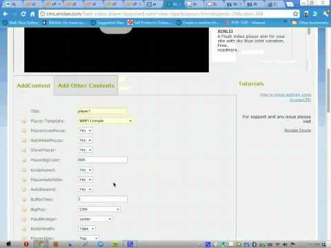 learn how to Make flash video player with logo using Arsslan-cms online