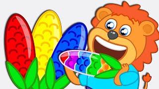 Lion Family 🍭 Colorful Maiz. Lollipop Maiz | Cartoon for Kids