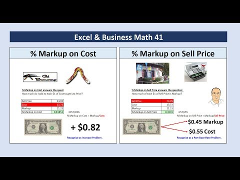 Excel & Business Math 41: Markup On Cost or Markup On Sell Price? Calculate & How They Are Different