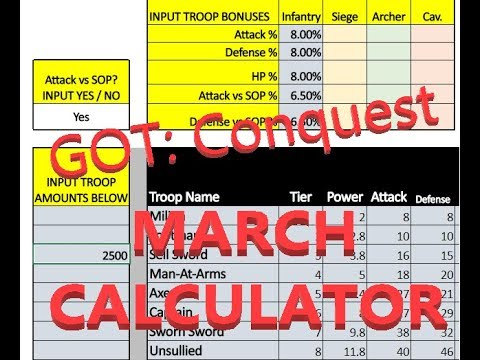 GOT Conquest Troop March Calculator - Outdated see new Video!