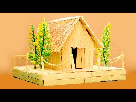 How to Make Popsicle Stick House with Pond & Garden | pop stick craft ideas