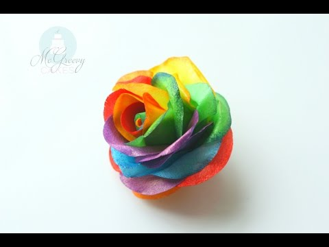 How to Make a Wafer Paper Rainbow Rose!