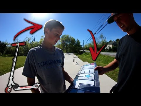 Skaters Give Scooter Kid Free Skateboard!