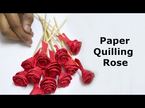 Paper Quilling Rose Flowers Step by Step