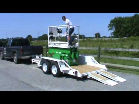 Loading & Unloading Pothole Protection Scissor Lift Onto LAT614 Trailer - Low Clearance