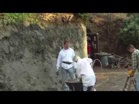 Cement plaster a dirt retaining wall, mortar sprayer part 2