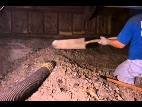 We are using Vacuum System to excavate dirt from this crawlspace