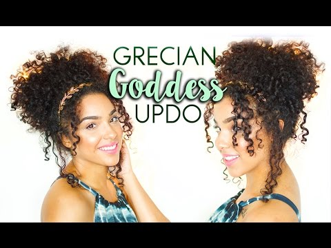 Elegant Grecian Goddess Updo Hair Tutorial for Curly and Natural Hair