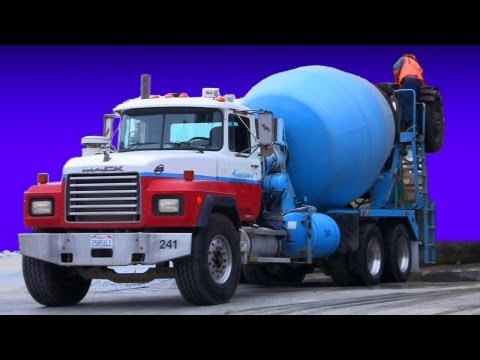 Concrete Trucks Loading and Pouring Cement