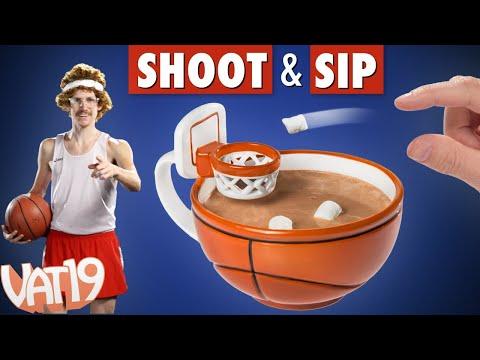 Coffee mug with a basketball hoop!