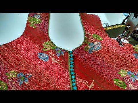 Latest neck design easy piping with dori potli(foam) button cutting & stitching/DIY