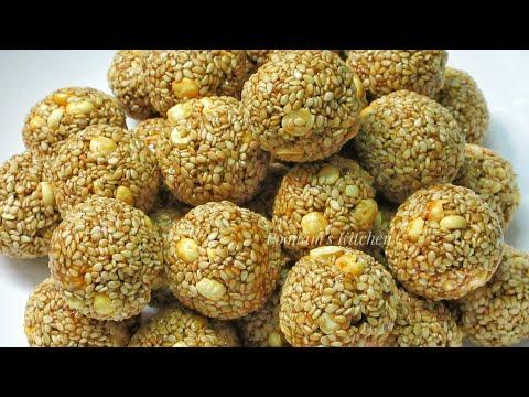 Crispy Til Gud Laddu - Til Gud Ladoo Recipe in Hindi/Tilgul Recipe - How to make Til Gud Ladoo