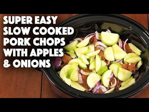 Super Easy Slow Cooker Pork Chops with Apples and Onions