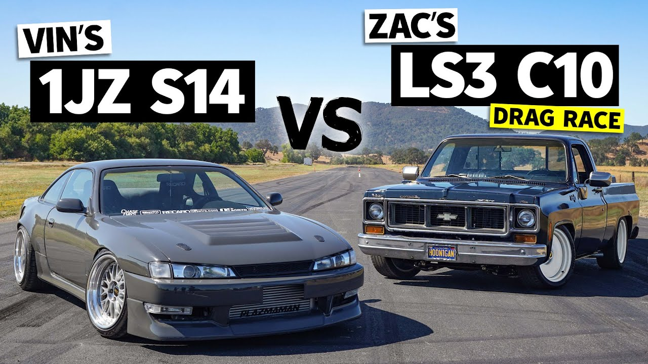 1JZ Swapped 240sx races a LS3 Chevy C10, the Vin vs. Zac Showdown! // This vs. That
