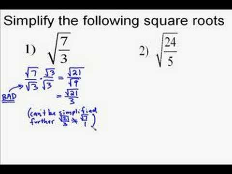 A19.6 Simplifying Square Roots With Fractions