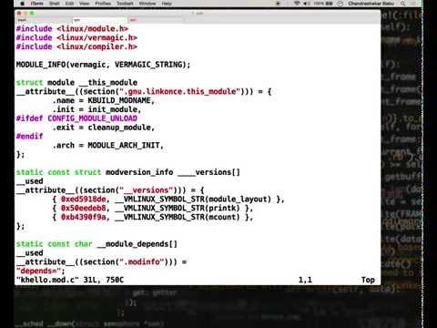 Linux Kernel Development - Demo Screencast: Hello world example kernel module