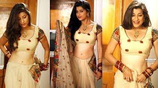 TV Serial Actress Madhurima hot navel in saree Mounaragam Telugu Movie