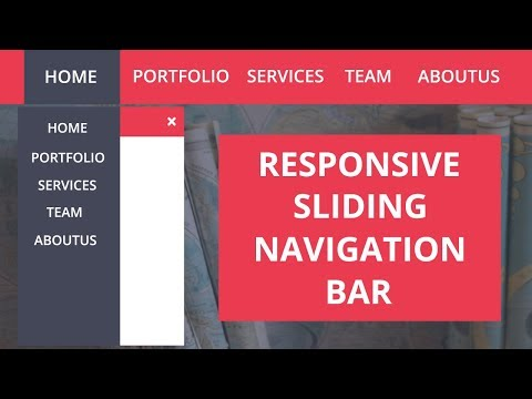 How to create the Responsive Navigation Bar Using HTML and CSS  -- Responsive Sliding Navigation Bar