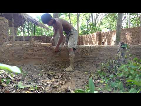 Primitive Technology, Upgrade wall  of Mud huts - ep 10