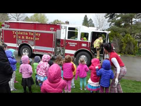 Firefighters get a call during our preschool visit!