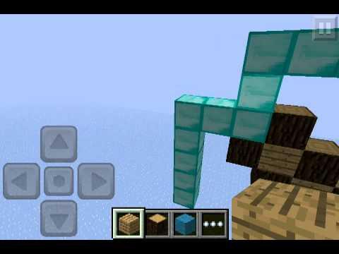 Minecraft PE How to make diamond pickaxe!!