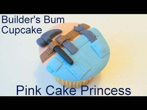 Father's Day Cupcake - How to Make a Builder's Bum Cupcake by Pink Cake Princess