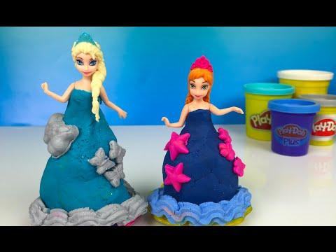 ❤ Playdoh Frozen Elsa Ice Queen & Princess Anna sweet shop princess dresses by Disney Toys Review