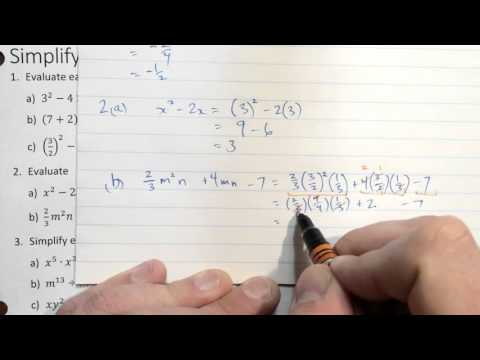 Simplifying and Evaluating Expressions - Review Solutions