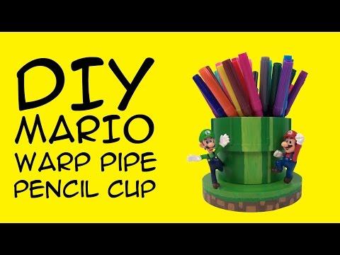 DIY Mario Warp Pipe Pencil Cup: (Mario Nintendo Fandom) a CraftyMcFangirl.com Tutorial