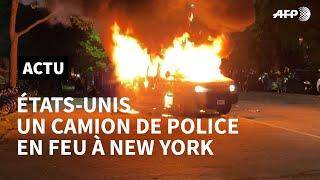 Décès de George Floyd: un camion de police incendié à New York | AFP Images